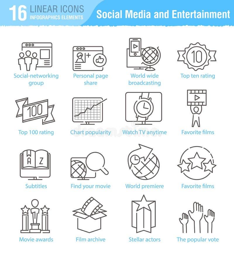 Διάφορα κοινωνικά μέσα και διανυσματικό λεπτό ολοκληρωμένο κύκλωμα γραμμών ψυχαγωγίας απεικόνιση αποθεμάτων