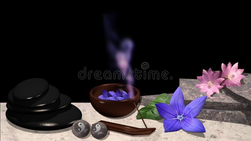 Διάφορα λουλούδια, πλάκες πετρών, κοχύλι με τα λουλούδια, πέτρα ελαφροπετρών, ελεύθερη απεικόνιση δικαιώματος