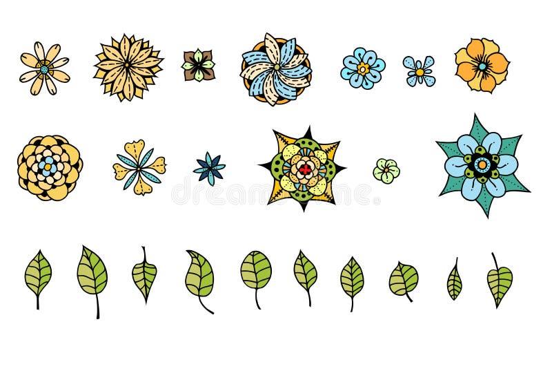 Διάφορα λουλούδια, φύλλα διανυσματική απεικόνιση
