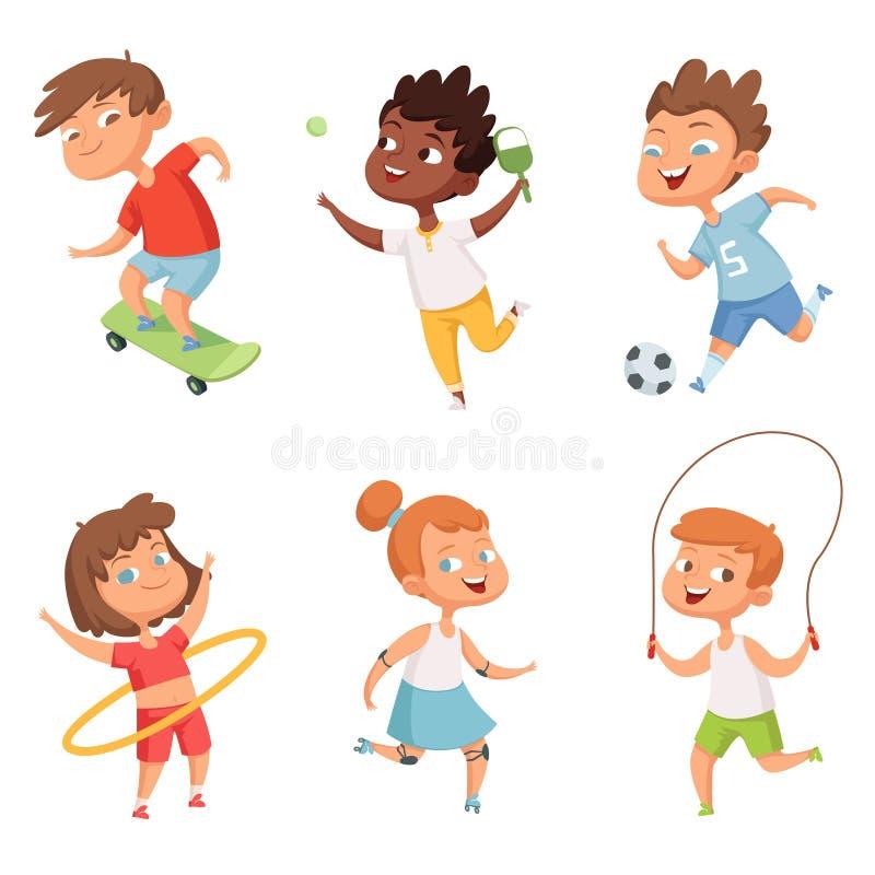 Διάφορα παιδιά στον ενεργό αθλητισμό Οι διανυσματικοί χαρακτήρες απομονώνουν στο άσπρο υπόβαθρο απεικόνιση αποθεμάτων