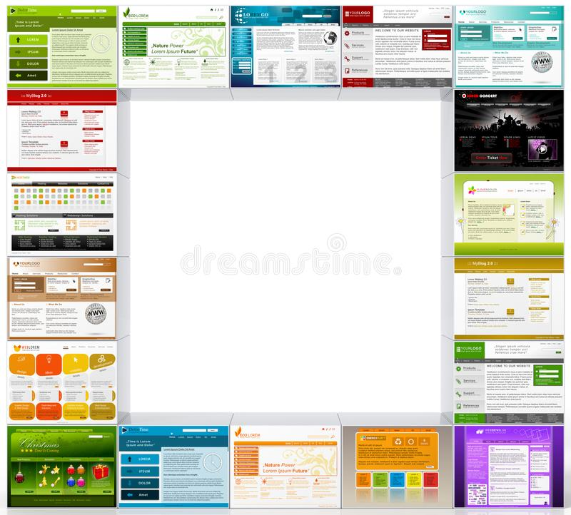 Διάφορα πρότυπα Webdesign με το διάστημα κειμένων για τη διαφήμιση διανυσματική απεικόνιση