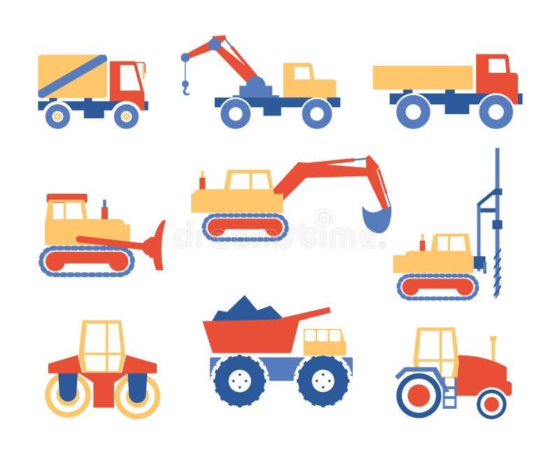 Διάφορα φορτηγά και γραφική παράσταση μηχανημάτων κατασκευής απεικόνιση αποθεμάτων