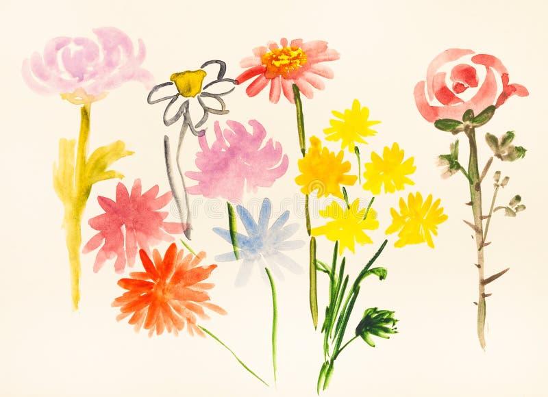 Διάφορα φρέσκα λουλούδια χρωματισμένο σε ελεφαντόδοντο χαρτί διανυσματική απεικόνιση