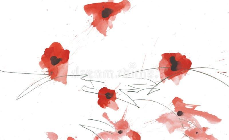 Διάφορα χρωματισμένα λουλούδια παπαρουνών watercolor που απομονώνονται την άνοιξη ως υπόβαθρο ή διακόσμηση με τους κακογραμμένους ελεύθερη απεικόνιση δικαιώματος