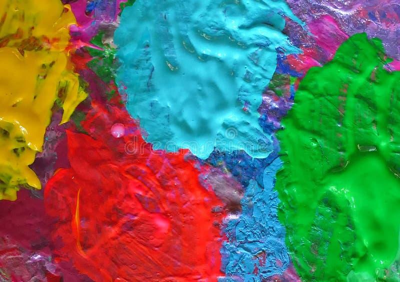 Διάφορα χρώματα σε ένα πινέλο'παλέτα, λεπτομέρειες στοκ εικόνες