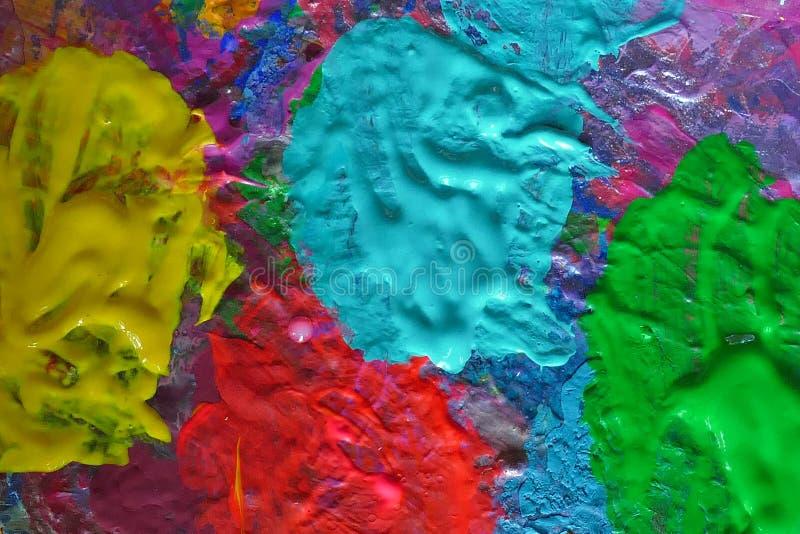 Διάφορα χρώματα σε μια παλέτα, λεπτομέρειες στοκ φωτογραφία με δικαίωμα ελεύθερης χρήσης