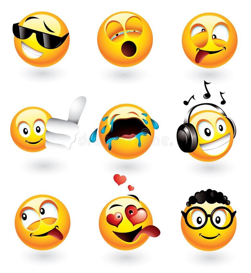 Διάφορα emoticons διανυσματική απεικόνιση