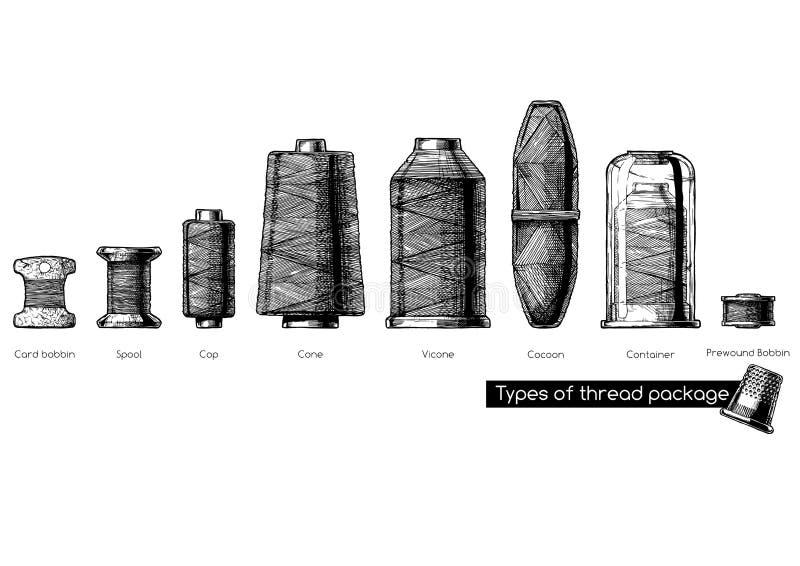 Διάφορες μορφές συσκευασίας νημάτων ελεύθερη απεικόνιση δικαιώματος