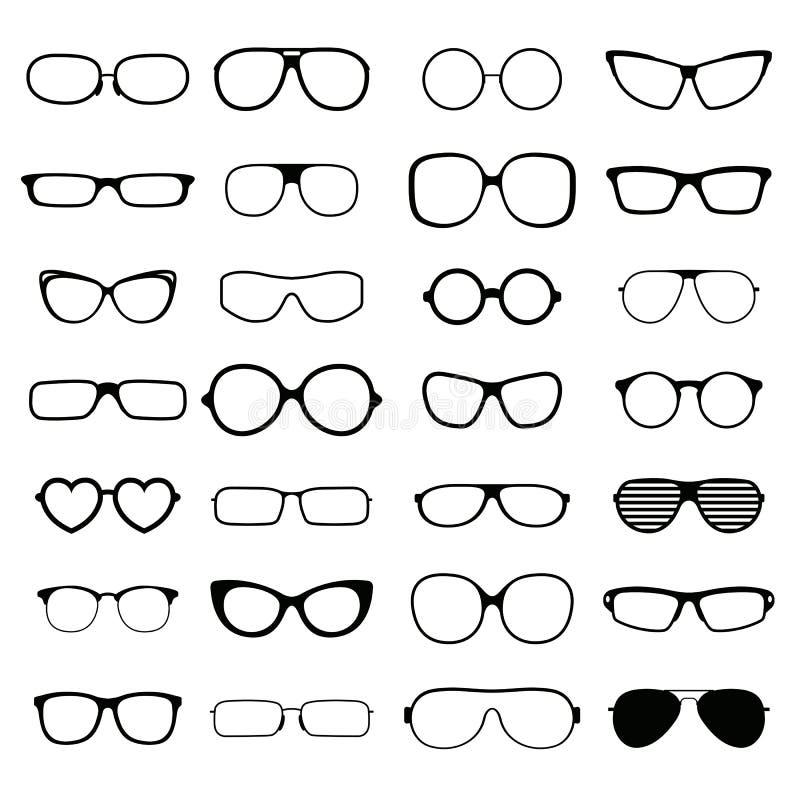 Διάφορες μορφές συλλογής του στερεού μαύρου διανύσματος σκιαγραφιών γυαλιών μόδας διανυσματική απεικόνιση