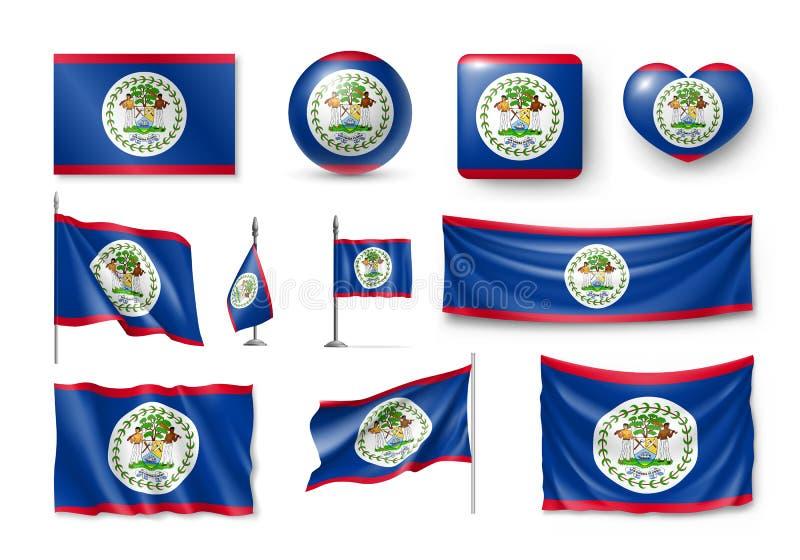 Διάφορες σημαίες της ανεξάρτητης χώρας της Μπελίζ διανυσματική απεικόνιση