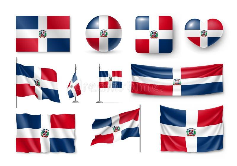 Διάφορες σημαίες της χώρας Δομινικανής Δημοκρατίας ελεύθερη απεικόνιση δικαιώματος