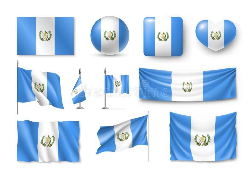 Διάφορες σημαίες της χώρας της Καραϊβικής της Γουατεμάλα απεικόνιση αποθεμάτων