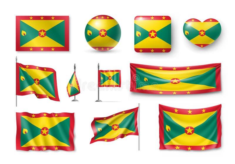 Διάφορες σημαίες της χώρας της Καραϊβικής της Γρενάδας απεικόνιση αποθεμάτων