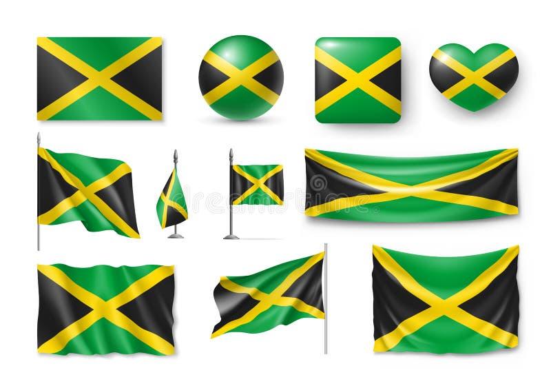 Διάφορες σημαίες της χώρας της Καραϊβικής της Τζαμάικας διανυσματική απεικόνιση
