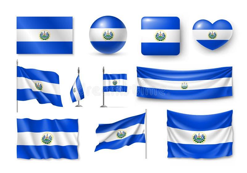 Διάφορες σημαίες της χώρας της Καραϊβικής του Ελ Σαλβαδόρ απεικόνιση αποθεμάτων