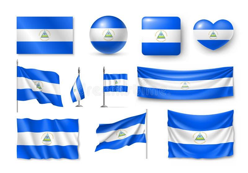 Διάφορες σημαίες της χώρας της Νικαράγουας διανυσματική απεικόνιση