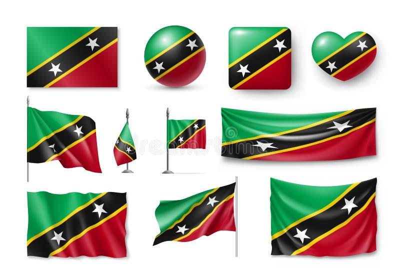 Διάφορες σημαίες της χώρας Σαιντ Κιτς και Νέβις απεικόνιση αποθεμάτων