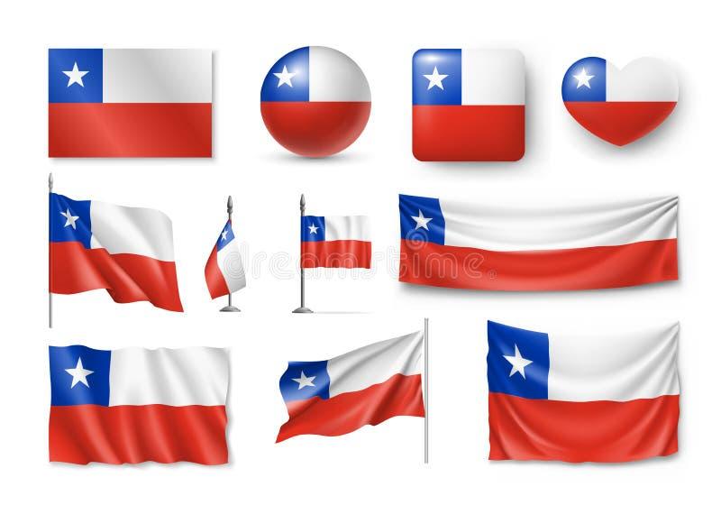 Διάφορες σημαίες της χώρας της Χιλής διανυσματική απεικόνιση