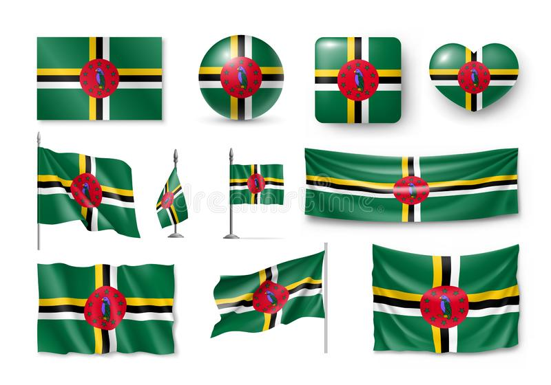 Διάφορες σημαίες του ανεξάρτητου νησιού της Δομίνικας διανυσματική απεικόνιση