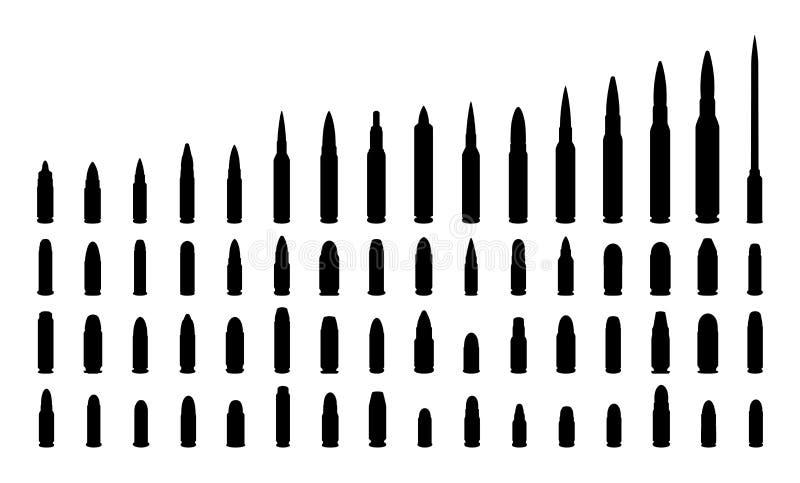 Διάφορες σκιαγραφίες πυρομαχικών τύπων. στοκ εικόνα με δικαίωμα ελεύθερης χρήσης