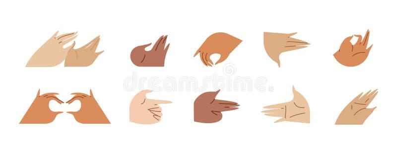 Διάφορες χειρονομίες των χεριών που απομονώνονται σε ένα άσπρο υπόβαθρο Διανυσματική επίπεδη απεικόνιση στις διαφορετικές καταστά διανυσματική απεικόνιση