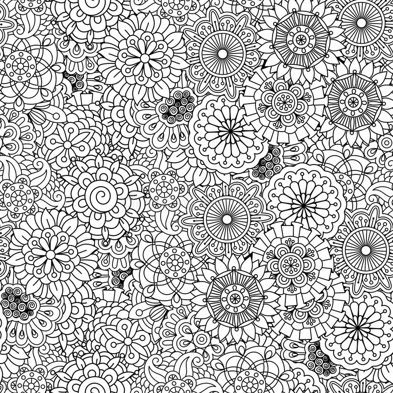 Διάφορες floral κυκλικές μορφές στο άνευ ραφής σχέδιο απεικόνιση αποθεμάτων