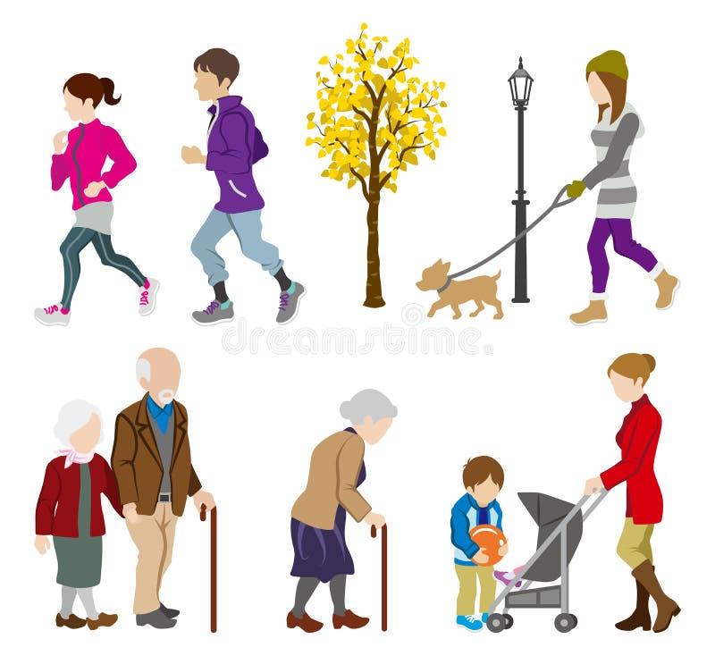 Διάφορη δραστηριότητα ανθρώπων το φθινόπωρο διανυσματική απεικόνιση