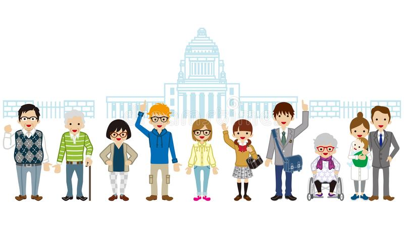 Διάφοροι άνθρωποι παραγωγής που στέκονται μπροστά από το εθνικό Di της Ιαπωνίας απεικόνιση αποθεμάτων