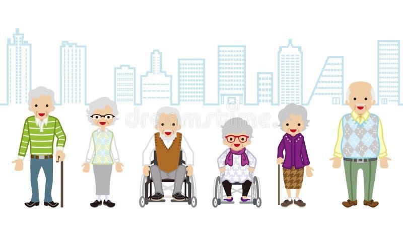 Διάφοροι ηλικιωμένοι άνθρωποι - υπόβαθρο εικονικής παράστασης πόλης απεικόνιση αποθεμάτων