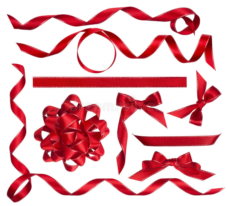 Διάφοροι κόκκινοι τόξα, κόμβοι και κορδέλλες που απομονώνονται στο λευκό στοκ εικόνα με δικαίωμα ελεύθερης χρήσης