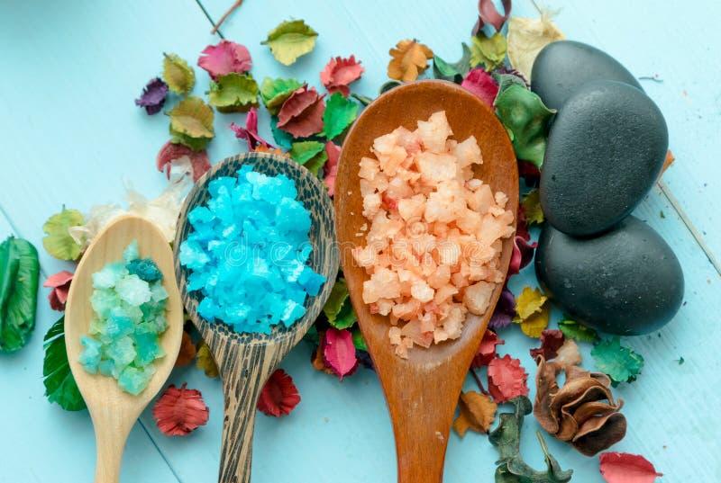 Διάφοροι τύποι αλάτων θάλασσας SPA στοκ φωτογραφία
