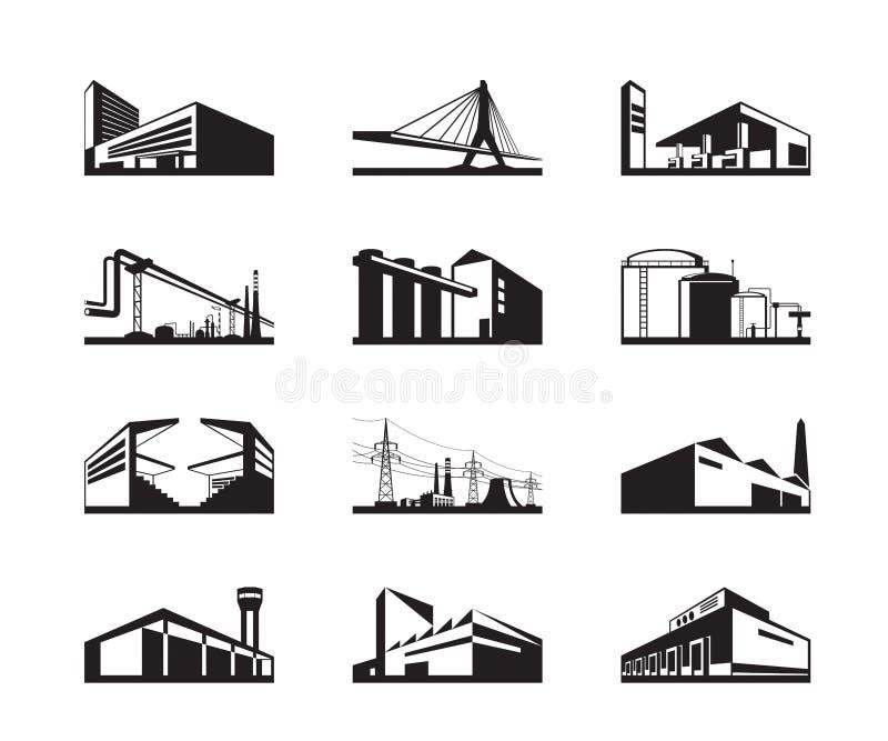 Διάφοροι τύποι βιομηχανικών κατασκευών απεικόνιση αποθεμάτων