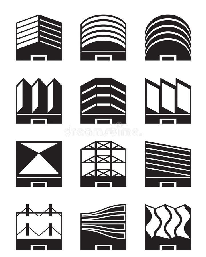 Διάφοροι τύποι βιομηχανικών στεγών ελεύθερη απεικόνιση δικαιώματος