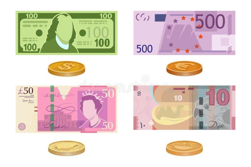 Διάφορο είδος χρημάτων που χρησιμοποιείται στον κόσμο Τραπεζογραμμάτια χρημάτων και χρυσά νομίσματα Έγγραφο χρημάτων μετρητών απεικόνιση αποθεμάτων