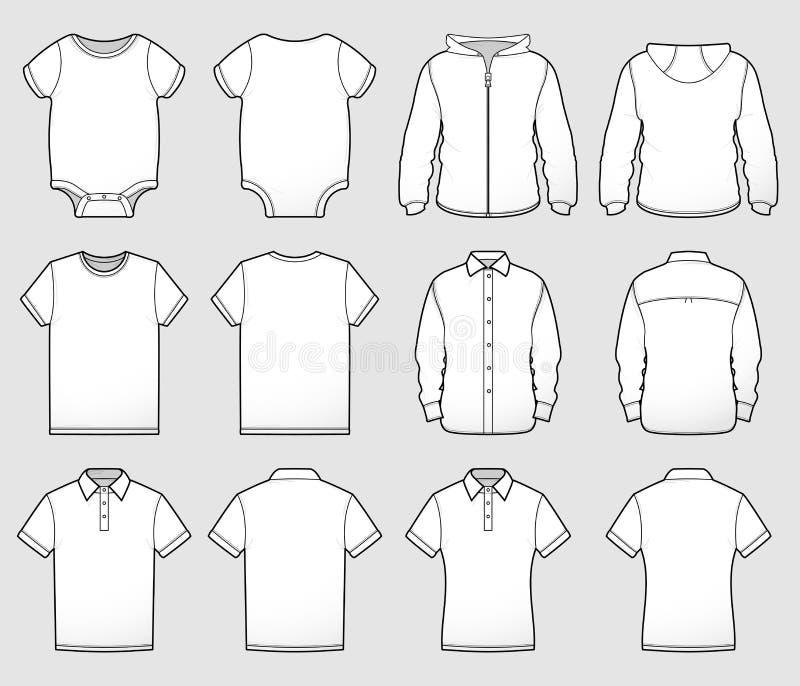 Διάφορο μέτωπο και πλάτη προτύπων πουκάμισων απεικόνιση αποθεμάτων