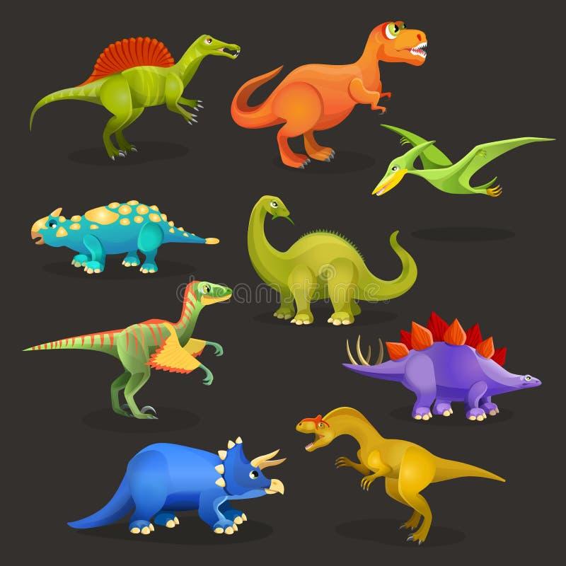 Διάφορο σύνολο δεινοσαύρων ιουρασικής περιόδου Αστεία πλάσματα κινούμενων σχεδίων διανυσματική απεικόνιση