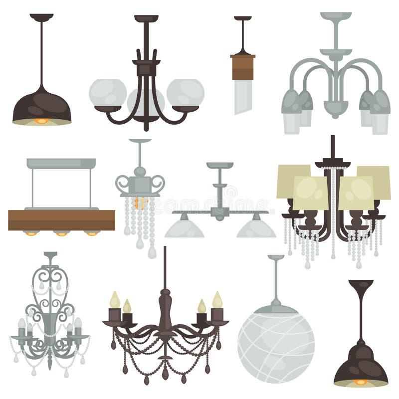 Διάφορο σύνολο τύπων πολυελαίων Διαφορετική συλλογή φ λαμπτήρων ένωσης ελεύθερη απεικόνιση δικαιώματος