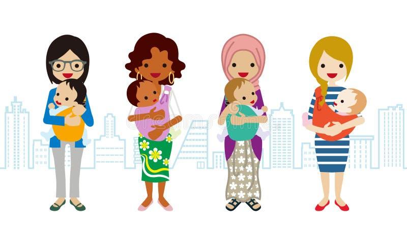 Διάφορο Mom και μωρό - πολυ-εθνική ομάδα διανυσματική απεικόνιση