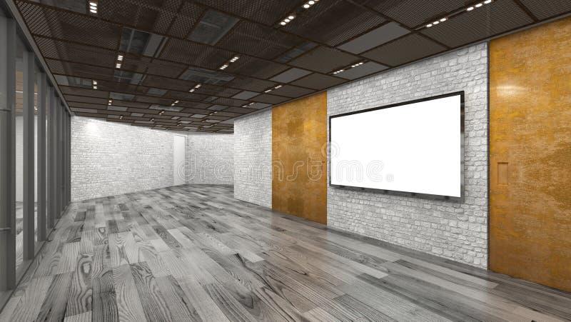 Διάδρομος γραφείων με τη TV των μεγάλων οδηγήσεων τρισδιάστατη απόδοση Χλεύη επάνω ελεύθερη απεικόνιση δικαιώματος