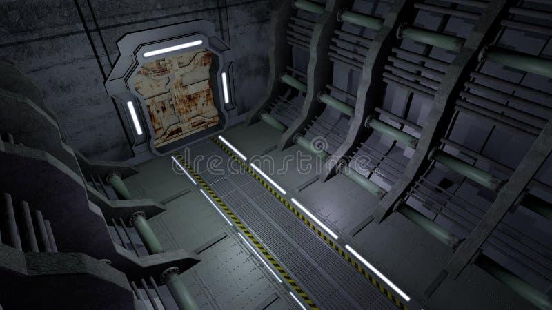 Διάδρομος με τις σκουριασμένες πόρτες στοκ εικόνα