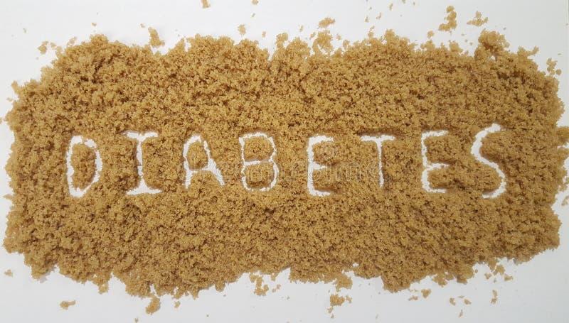 Διαβήτης που συλλαβίζουν έξω στην καφετιά ζάχαρη στο άσπρο υπόβαθρο στοκ εικόνα με δικαίωμα ελεύθερης χρήσης
