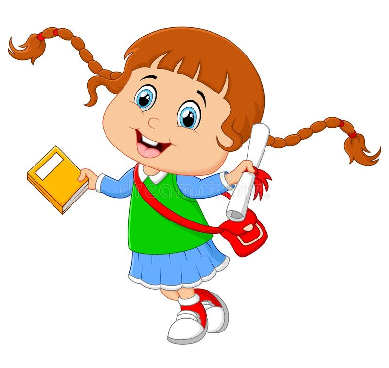 Διαβαθμισμένα κινούμενα σχέδια κοριτσιών διανυσματική απεικόνιση