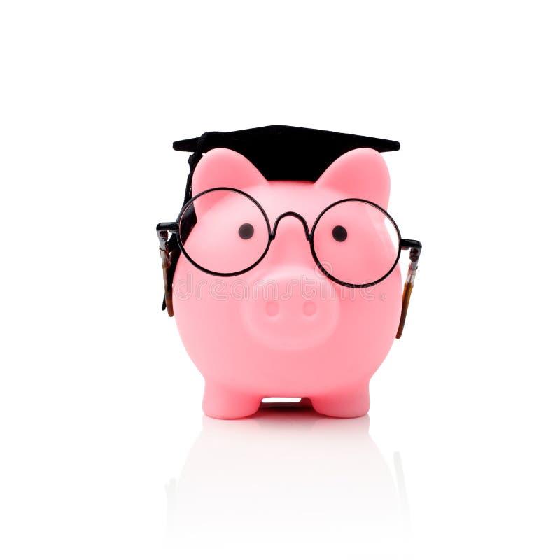 Διαβαθμισμένη piggy τράπεζα κολλεγίων σπουδαστών που απομονώνεται στην άσπρη, μπροστινή άποψη στοκ εικόνα