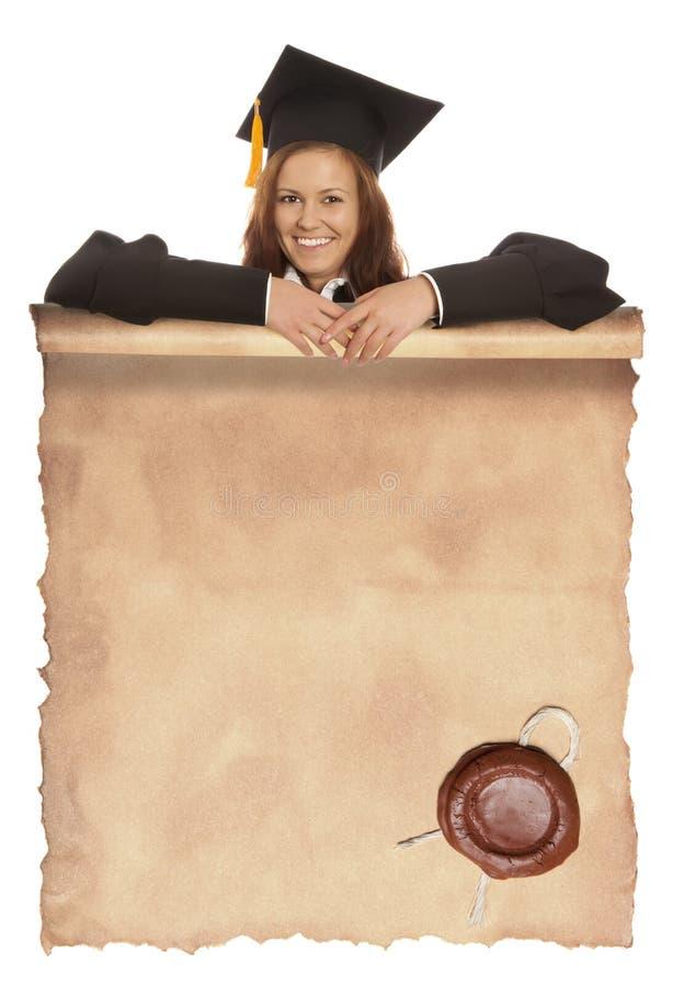 Διαβαθμισμένο κορίτσι με το εκλεκτής ποιότητας κενό στοκ εικόνες