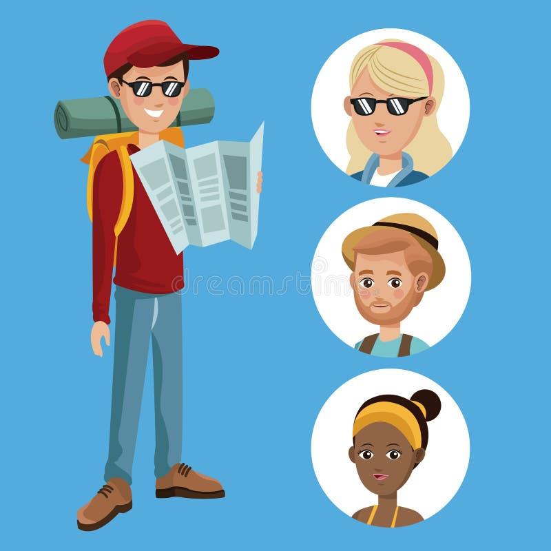 Διαβασμένος οδηγός χαρτών αγοριών τουρίστας με τα κορίτσια ομάδας απεικόνιση αποθεμάτων
