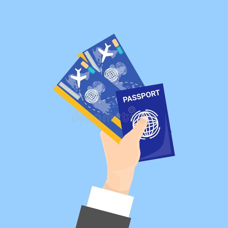 Διαβατήριο και εισιτήρια εκμετάλλευσης χεριών που απομονώνονται στο μπλε υπόβαθρο απεικόνιση αποθεμάτων