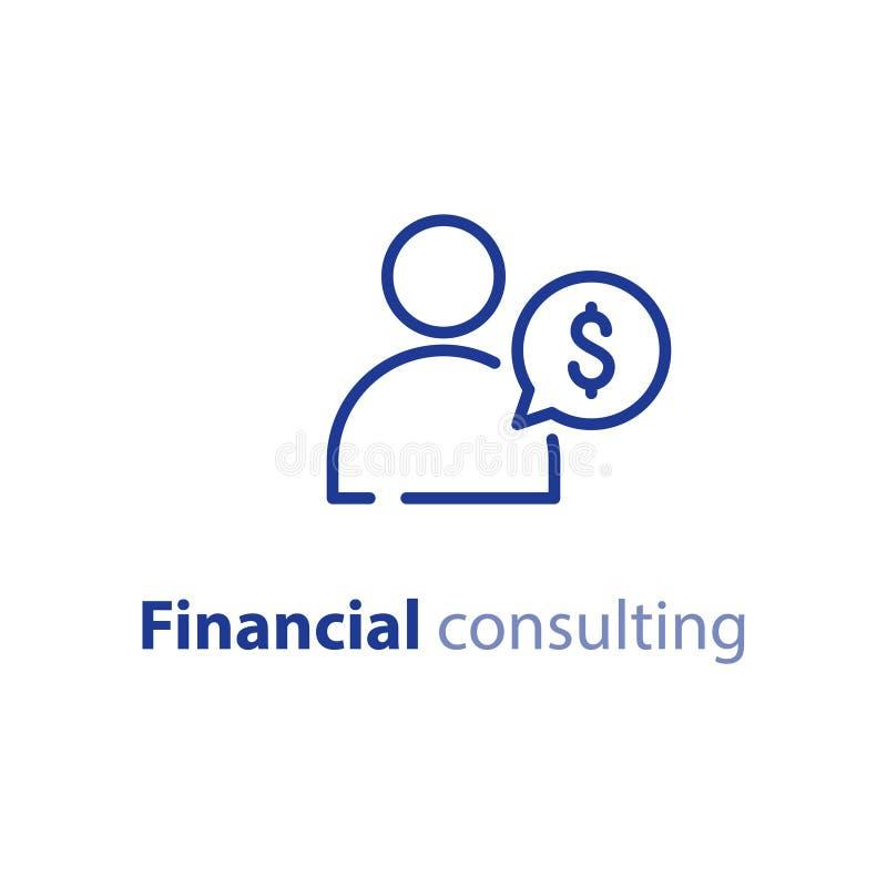 Διαβούλευση μεσιτών, οικονομικές συμβουλές, επιχειρησιακό άτομο, υπηρεσία επένδυσης διανυσματική απεικόνιση