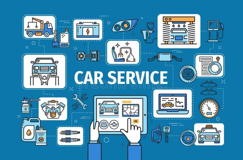 Διαγνωστικός έλεγχος οχημάτων, υπηρεσία επισκευής αυτοκινήτων διανυσματική απεικόνιση