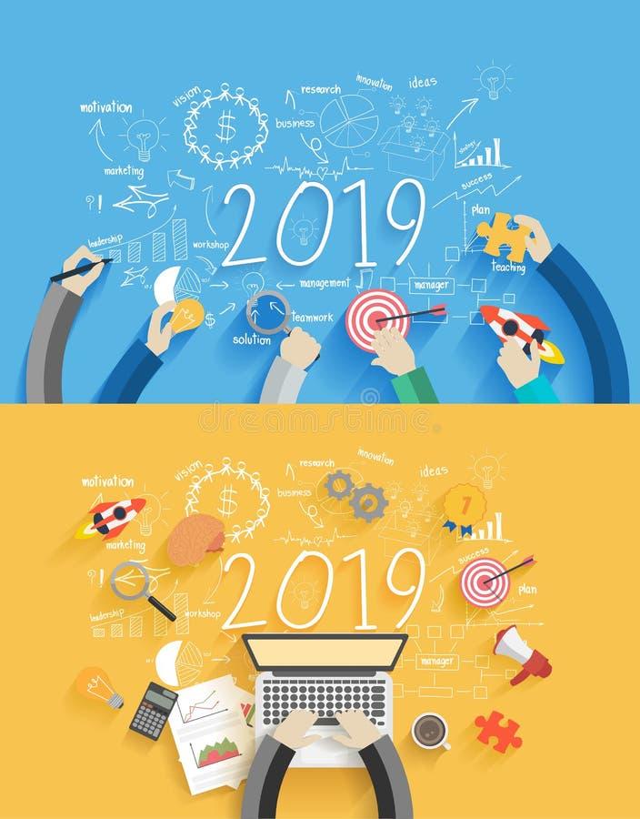 διαγράμματα και γραφικές παραστάσεις σχεδίων επιχειρησιακής επιτυχίας έτους του 2019 νέες δημιουργικές ελεύθερη απεικόνιση δικαιώματος