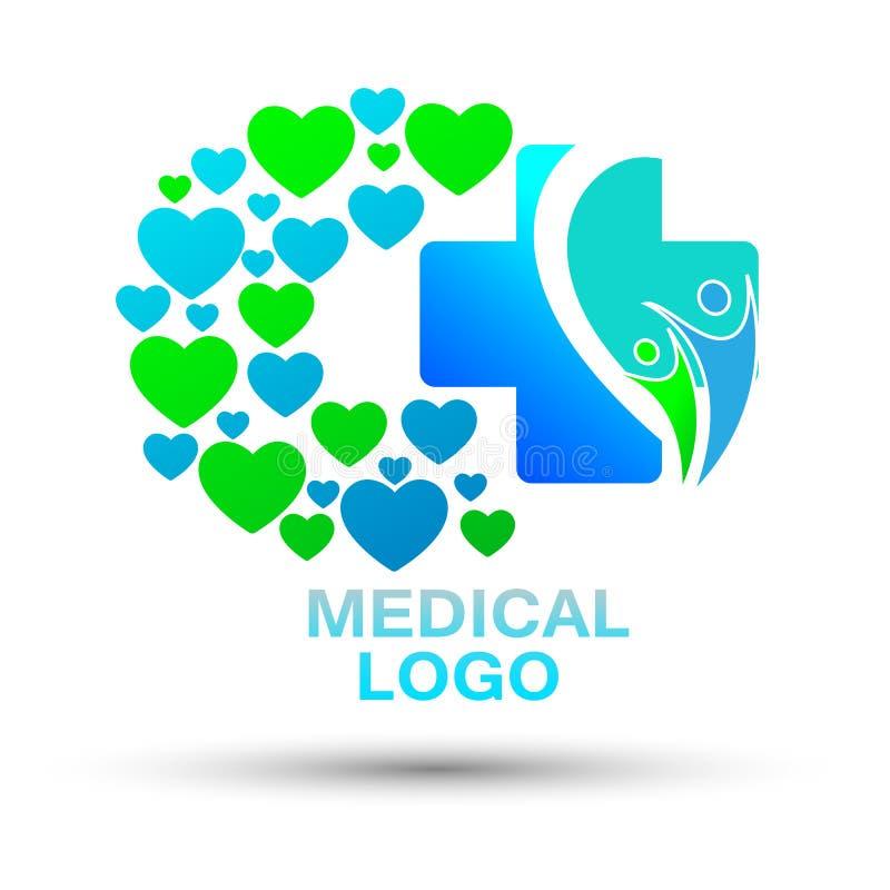Διαγώνια καρδιές ιατρικής φροντίδας και εικονίδιο λογότυπων οικογενειακής υγείας διανυσματική απεικόνιση